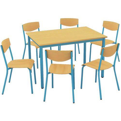 Conjunto de cadeiras e mesa retangular - Tampo em melamina - 6 lugares