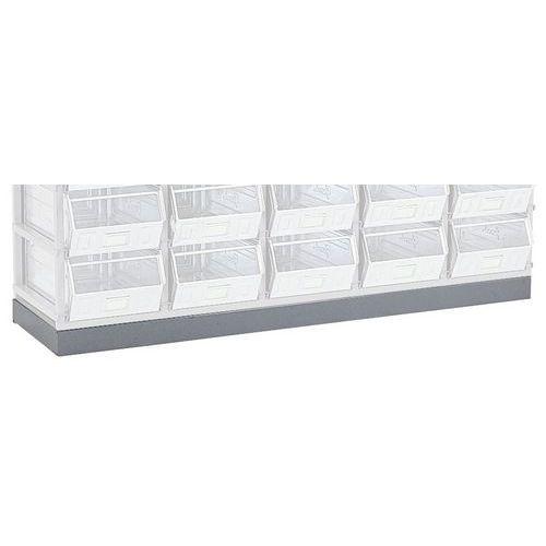 Base e superfície de trabalho para bastidor de arrumação para recipientes e caixas