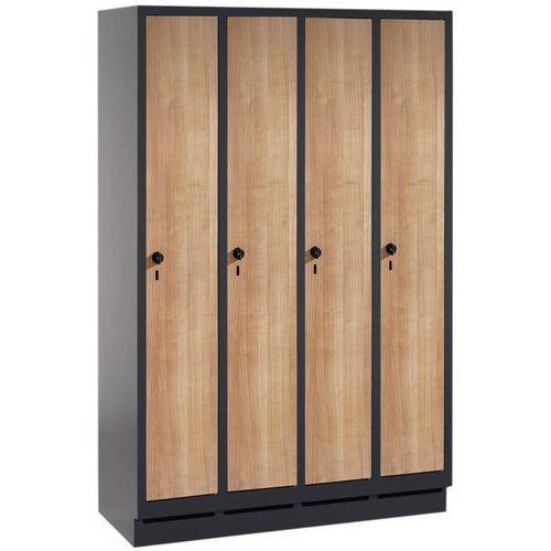 Cacifo com porta de madeira Évolo - 2 a 4 colunas - 400 mm de largura - Com base