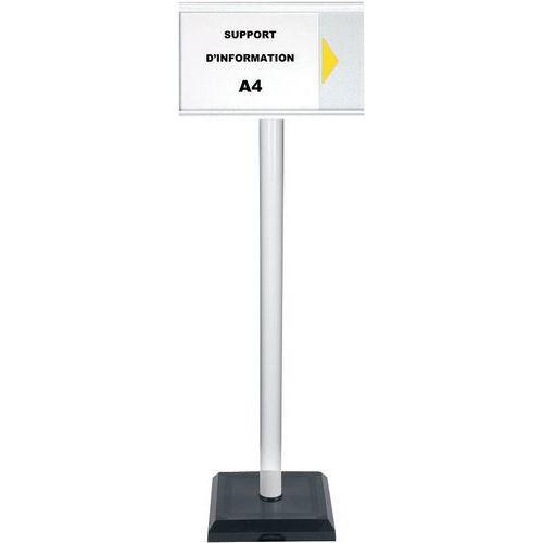 Poste com painel de informação A4 em PVC – Premium