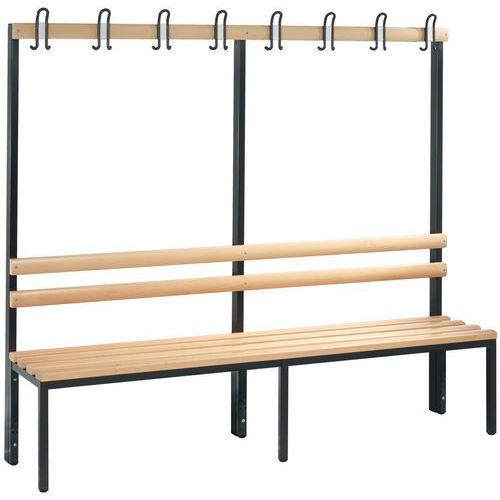 Banco-cabide de madeira CP - 4 a 8 ganchos - Face simples