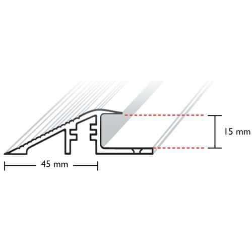 Rebordo para piso gradeado - Perfil em alumínio