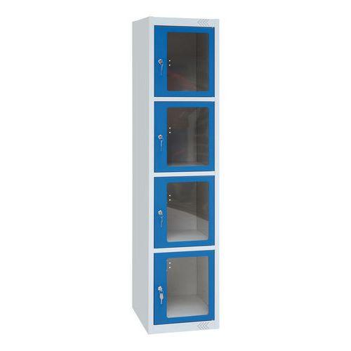 Cacifo com porta transparente com 4 compartimentos - 1 coluna de 400 mm de largura - Com base - Manutan