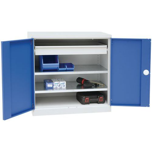 Armário baixo com prateleiras e gavetas corrediças - Manutan