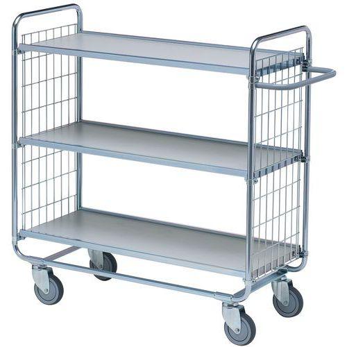 Móvel de apoio com plataformas em madeira com acabamento plástico – 3 plataformas – Capacidade de carga: 200 k