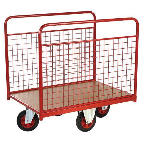 Carro com revestimento gradeado e rodas em losango - Capacidade 500 kg - 2 grelhas fixas