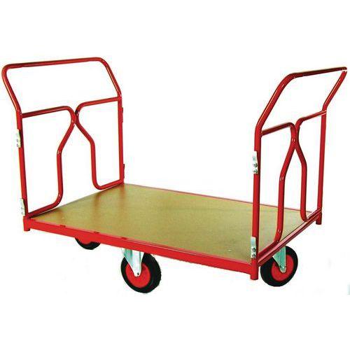 Carro com revestimento tubular e rodas em losango - Capacidade 500 kg - 2 espaldares