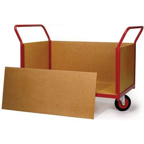 Carro com revestimento em painéis de madeira e rodas em losango - Capacidade 500 kg - 2 espaldares + 2 painéis