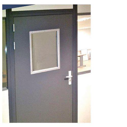 Porta rebatível para divisórias de oficina em chapa de aço ou melamina - Painel semividrado - Altura 2.75 m
