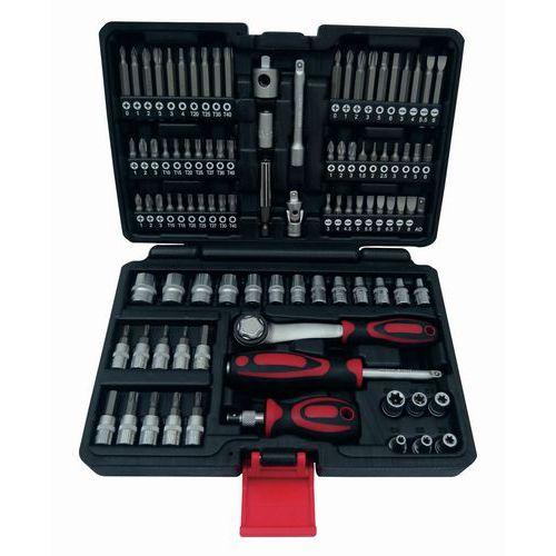 Caixa de chaves de parafusos, roquete, pontas + chaves de caixa - 97 peças