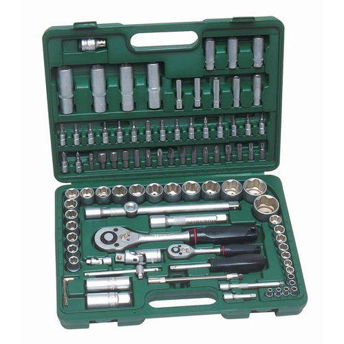 Caixa de ferramentas + chaves de caixa de 1/2 e 1/4 sextavadas - 94 peças