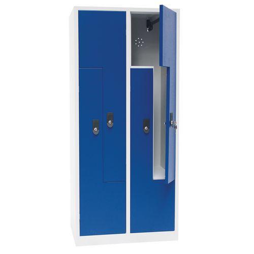 Cacifo com porta L de metal - 2 a 6 compartimentos de 200 mm de largura - Com base - Manutan