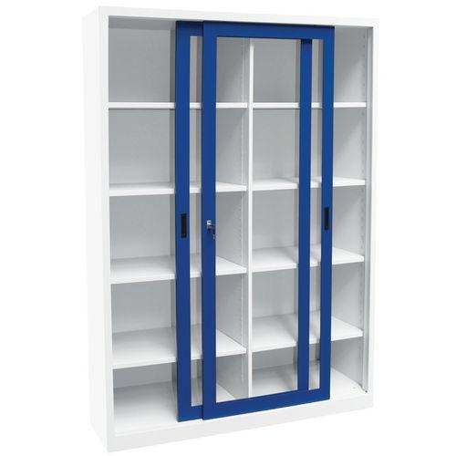Armário alto monobloco com portas corrediças CH - Com vitrina - Largura 150cm - Manutan