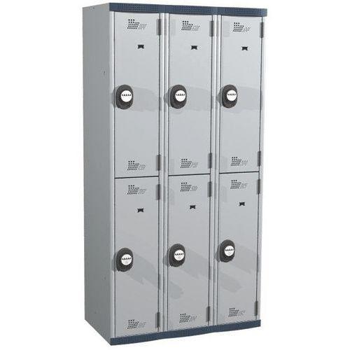 Cacifo com 6 compartimentos e cabides Seamline Optimum® – 3 colunas de 300mm de largura – Com base – Acial