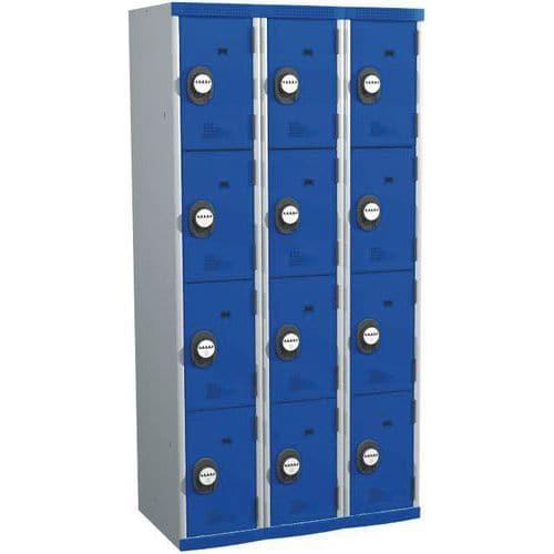 Cacifo com 12 compartimentos Seamline Optimum® – 3 colunas de 300mm de largura – Com base – Acial