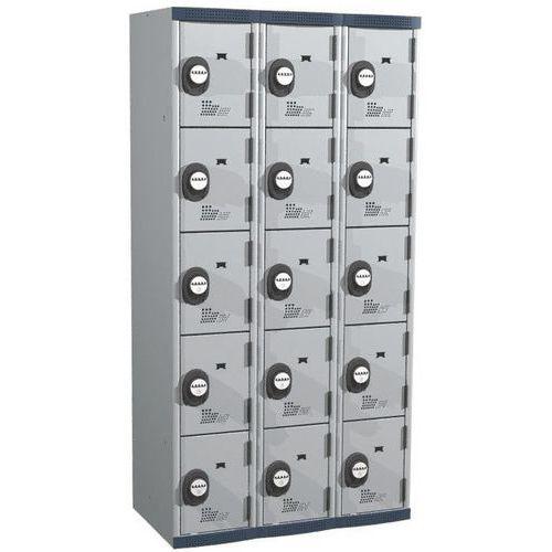 Cacifo com 15 compartimentos Seamline Optimum® – 3 colunas de 300mm de largura – Com base – Acial