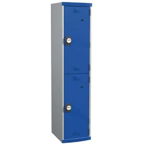 Cacifo com 2 compartimentos e cabides Seamline Optimum® – 1 coluna de 400mm de largura – Com base – Acial