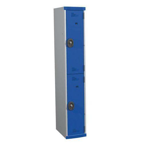 Cacifo com 2 compartimentos e cabides Seamline Optimum® – coluna de 300mm de largura – Com base – Acial