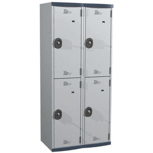 Cacifo com 4 compartimentos e cabides Seamline Optimum® – 2 colunas de 400mm de largura – Com base – Acial