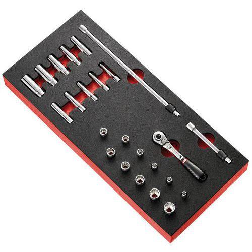 Módulo de espuma roquete com bloqueio 1/4 e chaves de caixa em polegadas