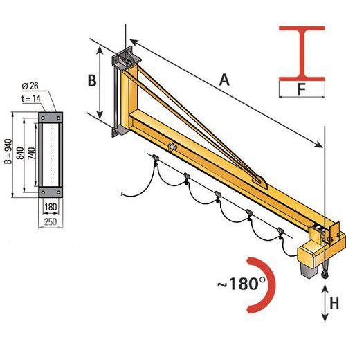 Grua de parede - Capacidade 1600 e 2000 kg