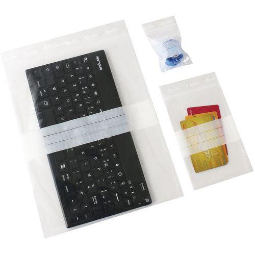 Saquetas zip fitas brancas 50 µm - Manutan