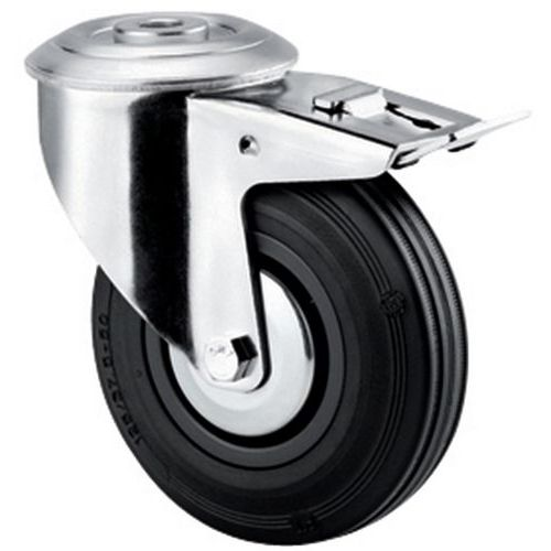 Rodízio giratório com olhal e travão - Capacidade de carga de 100 kg