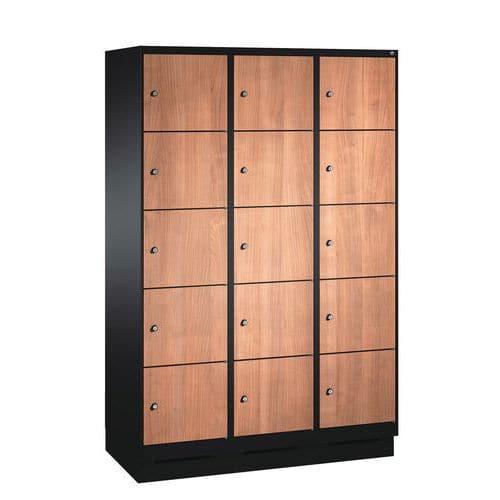 Cacifo de madeira com 10 a 15 compartimentos Évolo I - 2 a 3 colunas de 400 mm de largura