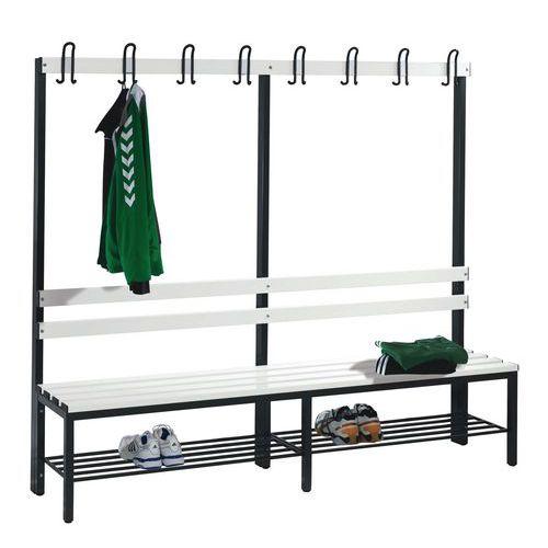 Banco-cabide em PVC - 4 a 8 ganchos - Face simples - Com espaldar e grelha para calçado