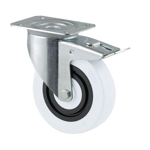 Rodízio sandwich giratório com travão - Com placa - Capacidade de 160 e 200 kg