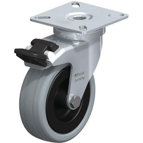 Rodízio com placa - Capacidade de 40 a 70 kg - Giratório com travão