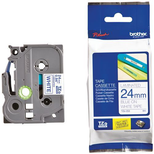 Cassetes de fita para máquina de etiquetar Brother - Largura 24 mm