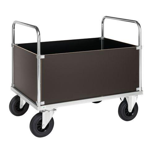 Carro de transporte - 4 lados integrais altos, em aço - 2 pegas - Capacidade de carga de 500kg