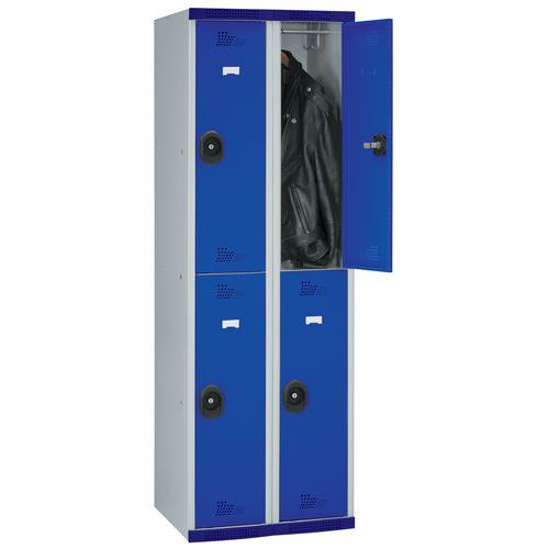Cacifo com 4 compartimentos e cabides Seamline Optimum® – 2 colunas de 300mm de largura – Com base – Acial