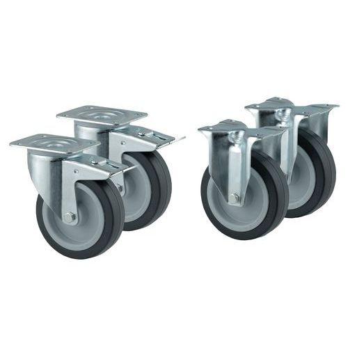 Lote de 4 rodízios - 2 fixos e 2 giratórios com travão - Capacidade de 250 kg