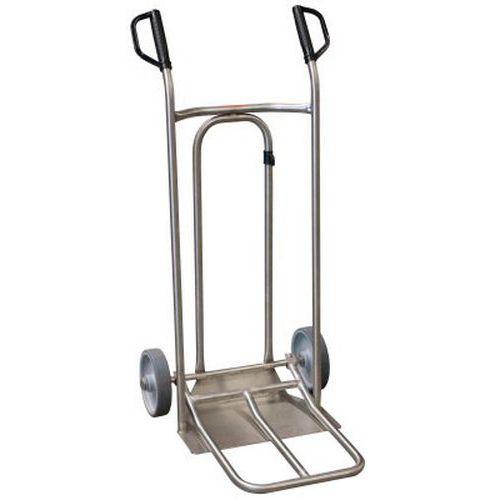 Transportador em inox – 250kg – Roda em borracha – Aba fixa e dobrável