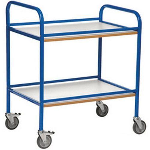 Carro de cuidados de saúde com 2 plataformas em madeira - Com rebordo - Capacidade de 100 kg