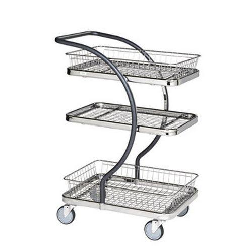 Carro de plataformas e cestos em metal C-Line - Capacidade de 120 kg