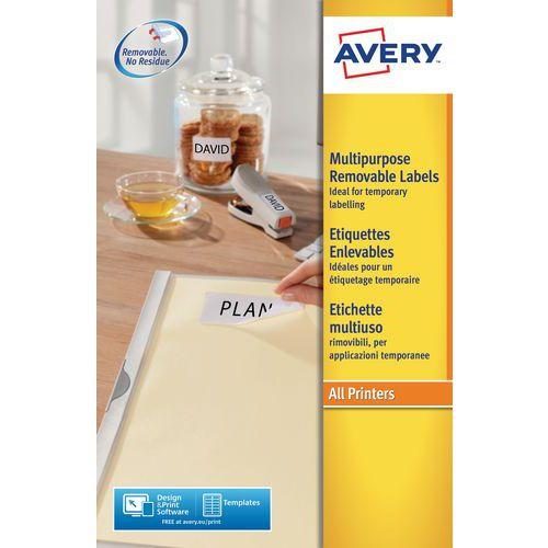 Etiqueta branca reposicionável Avery – Impressão a laser/jato de tinta e fotocopiadora