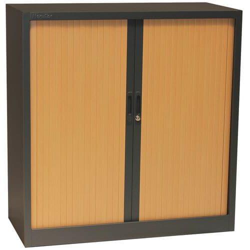 Armário baixo, bicolor, com portas de persiana - Manutan