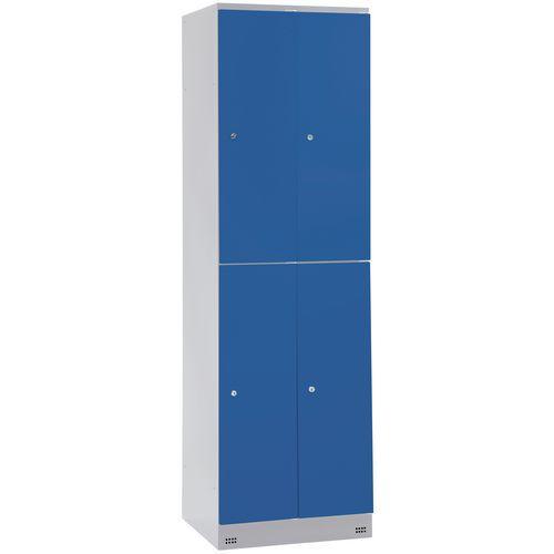 Cacifo com 4 compartimentos com cabide Collectivité - 2 colunas de 400 mm de largura - Com base