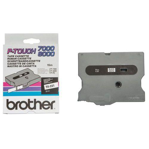 Cassetes de fita para máquina de etiquetar Brother - Largura 9 mm