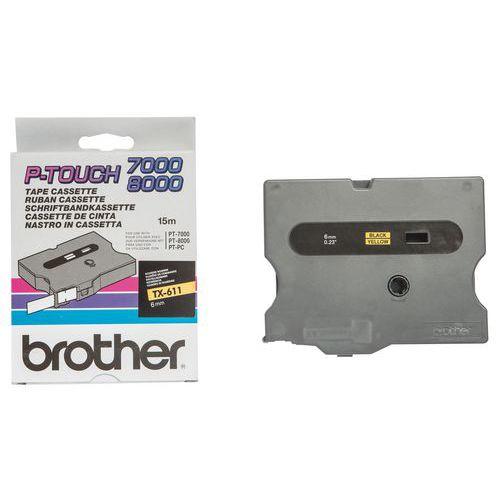 Cassetes de fita para máquina de etiquetar Brother - Largura 6 mm
