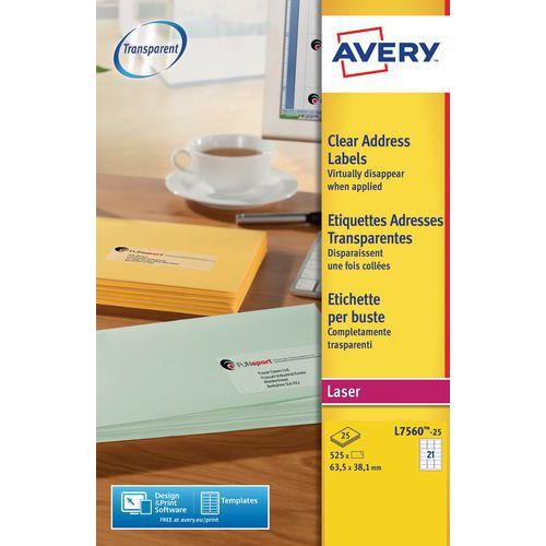 Etiquetas para impressão a laser Avery Transparentes