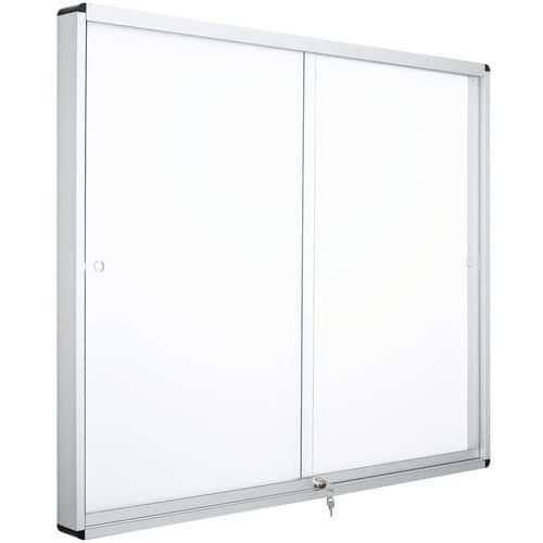 Vitrina de interior Manutan, 2 portas – fundo em alumínio – porta em vidro