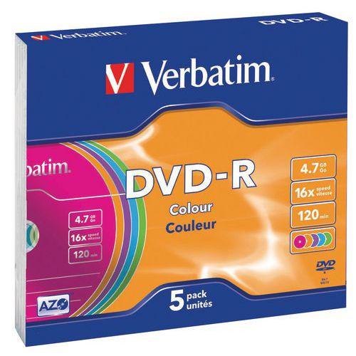 DVD-R Azo Colorido lote de 5 16X Verbatim