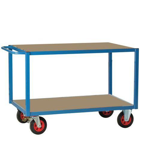 Carro de plataformas em madeira de 500kg – 2 plataformas – Rodas em borracha