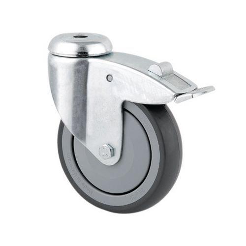 Rodízio giratório com olhal e travão - Capacidade de 40 a 100 kg