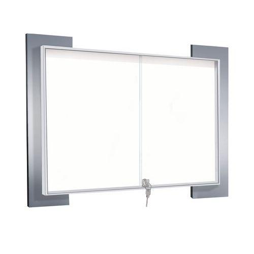 Vitrina de interior Look – fundo em alumínio – porta de segurança em vidro