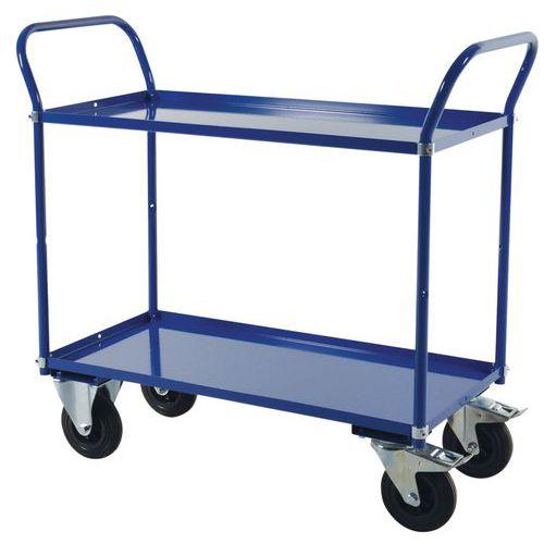 Carro de plataformas em metal - 2 plataformas - Capacidade de 400 kg
